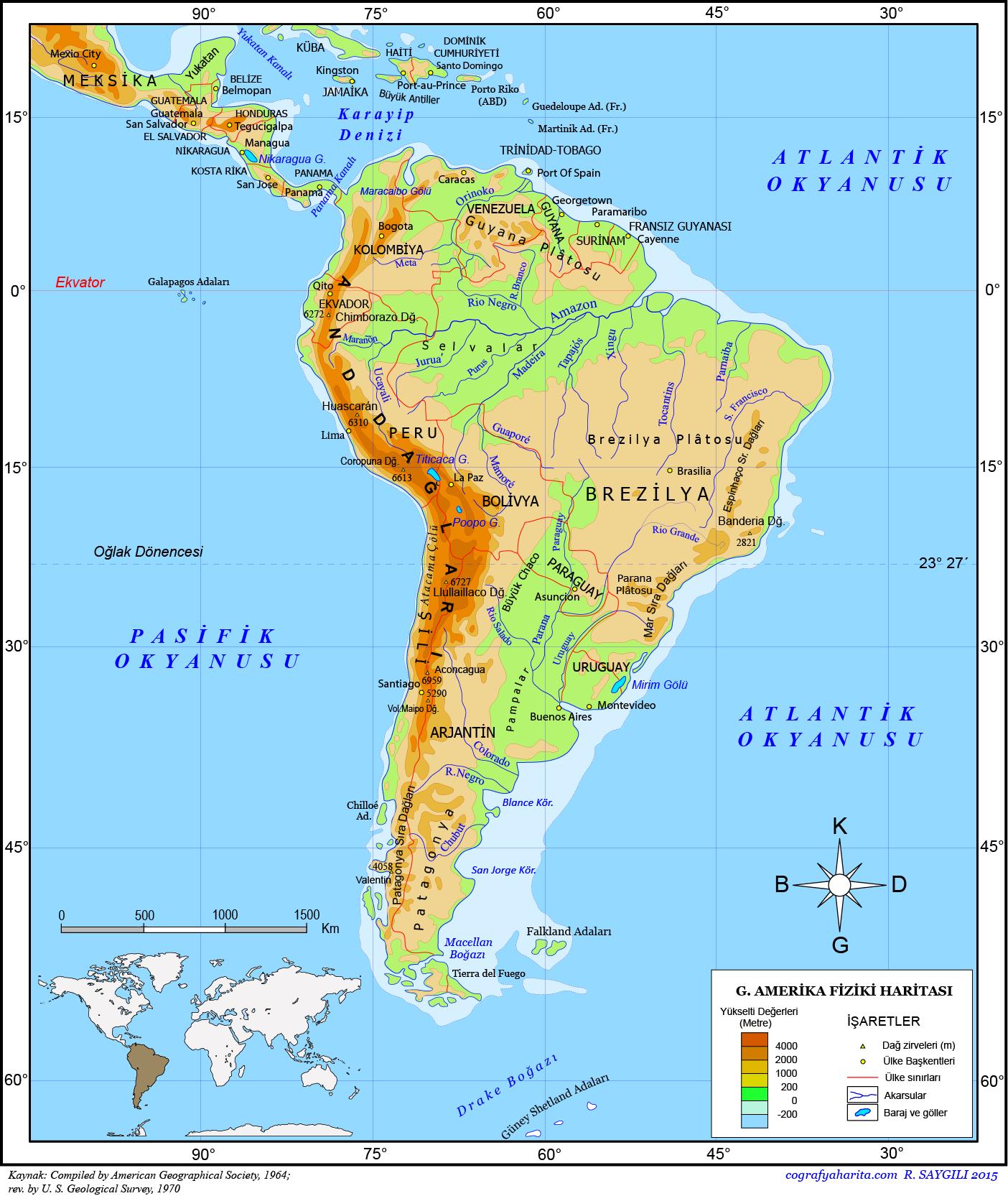 Güney Amerika Haritası