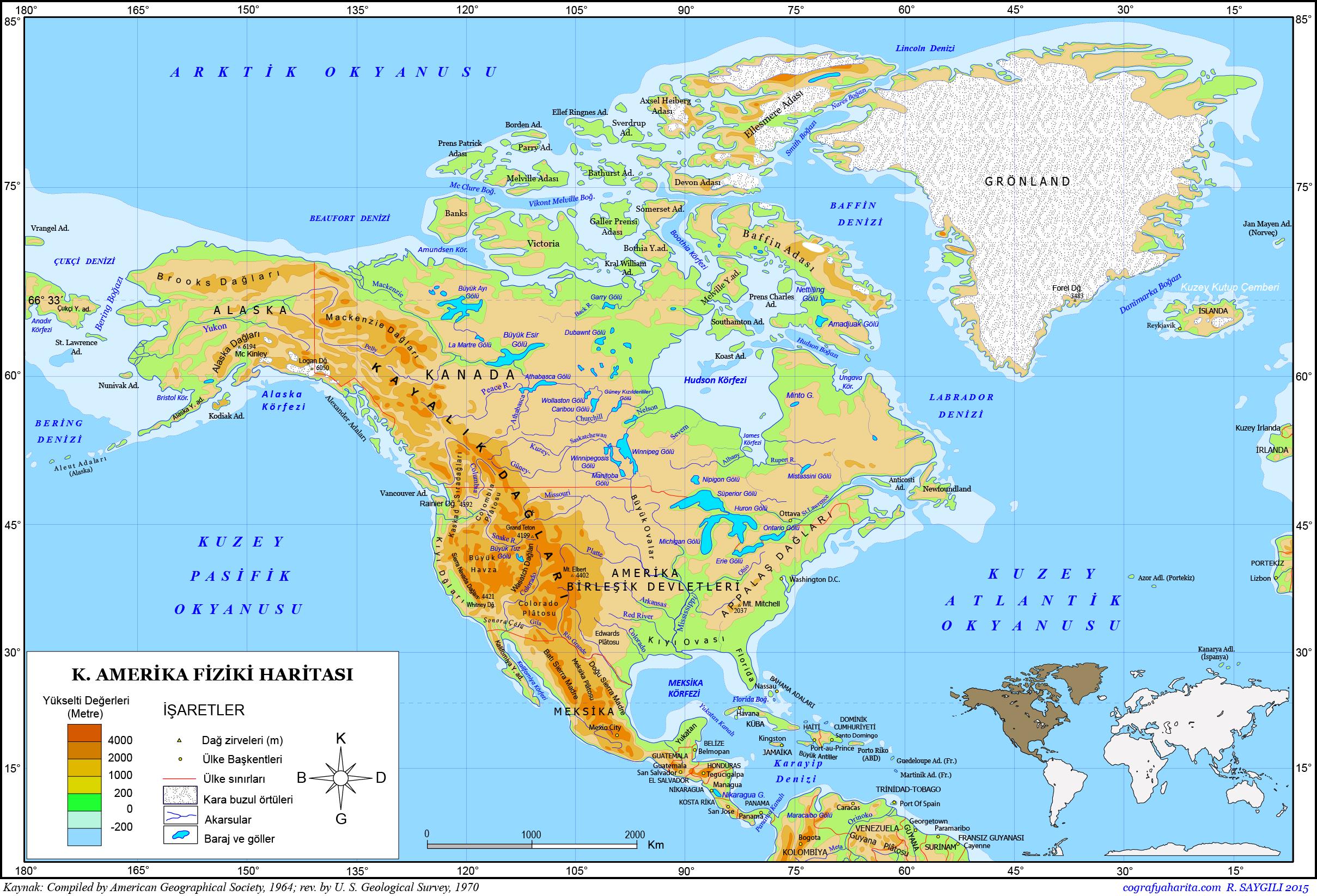 Kuzey Amerika Haritası