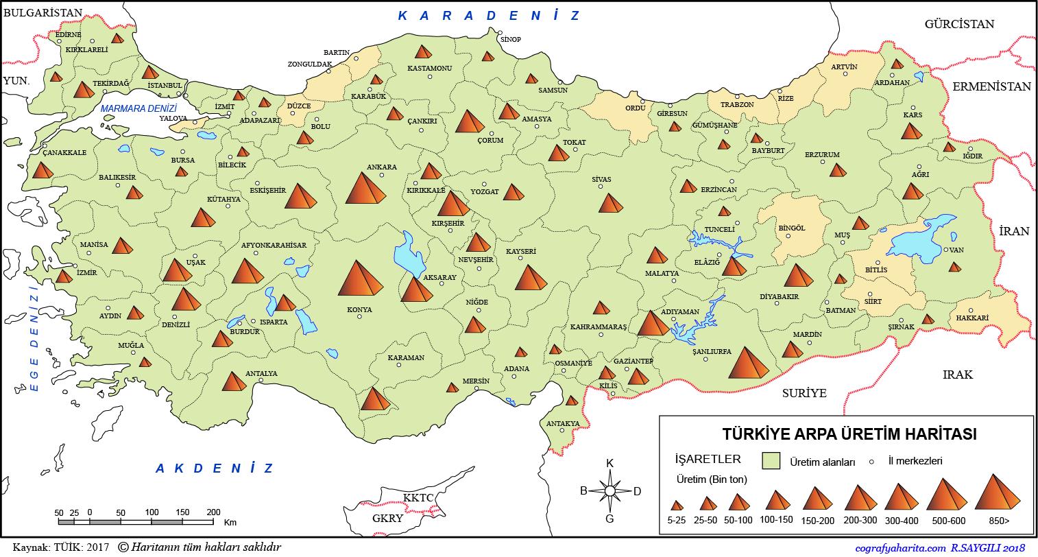 Türkiye Arpa Üretim Haritası 2