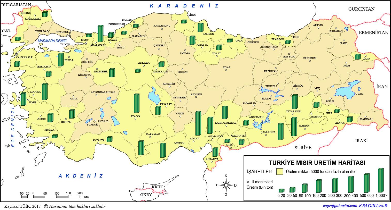 Türkiye Mısır Üretim Haritası