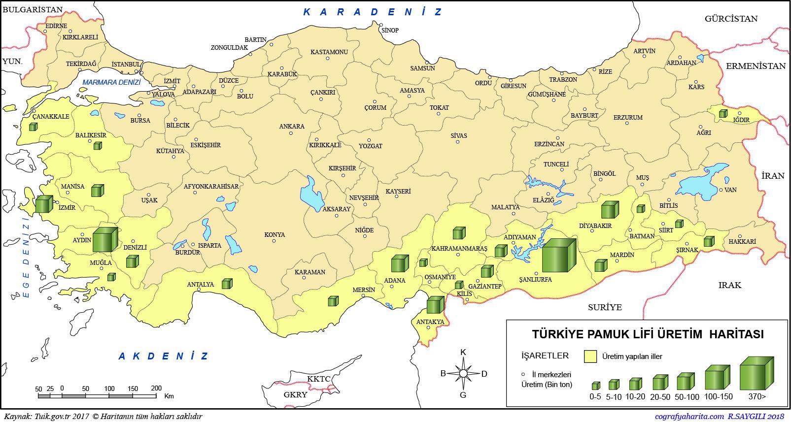 Türkiye Pamuk Üretim Haritası 2