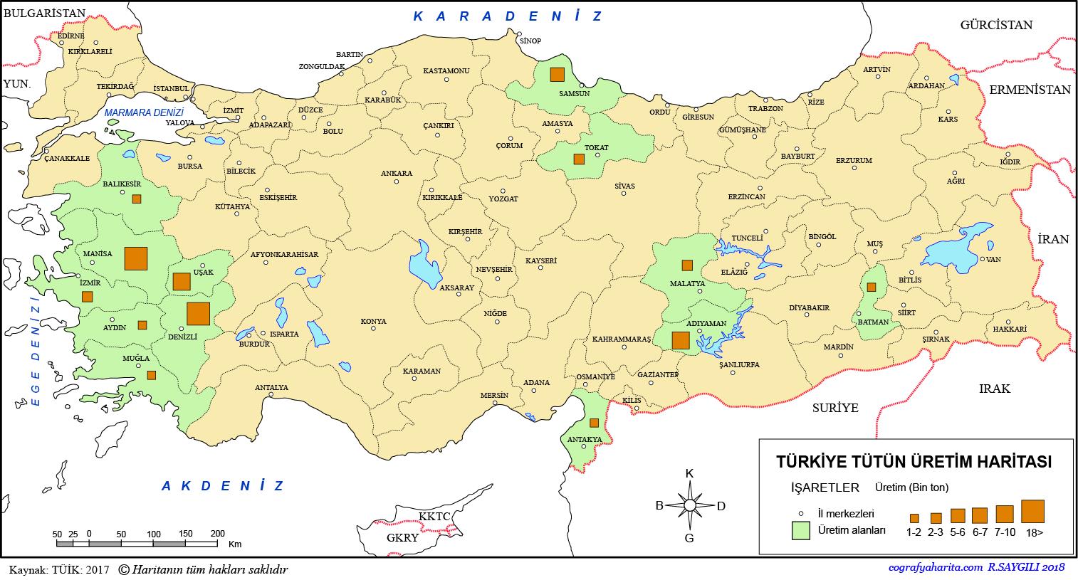 Türkiye Tütün Üretim Haritası 2