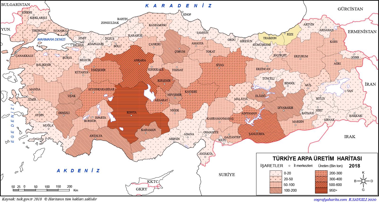 Türkiye Arpa Üretim Haritası