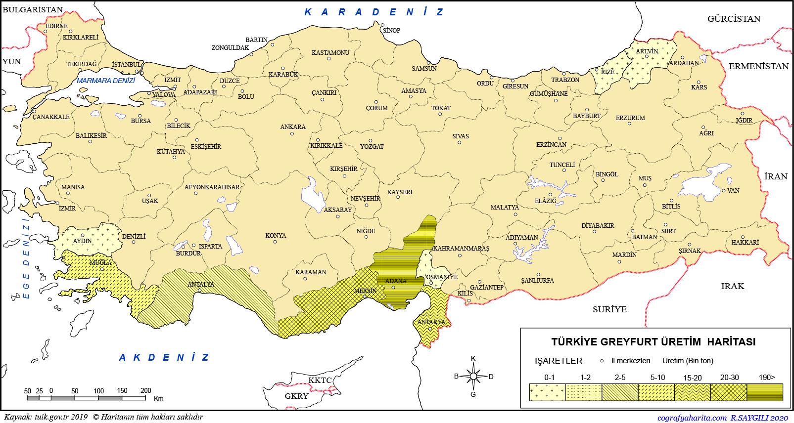 Türkiye Greyfurt Üretim Haritası