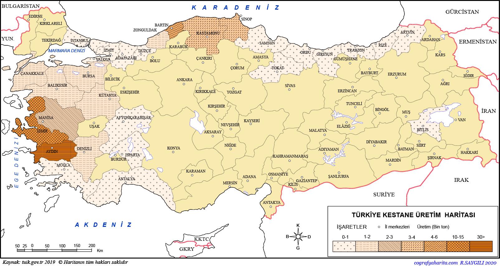 Türkiye Kestane Üretim Haritası
