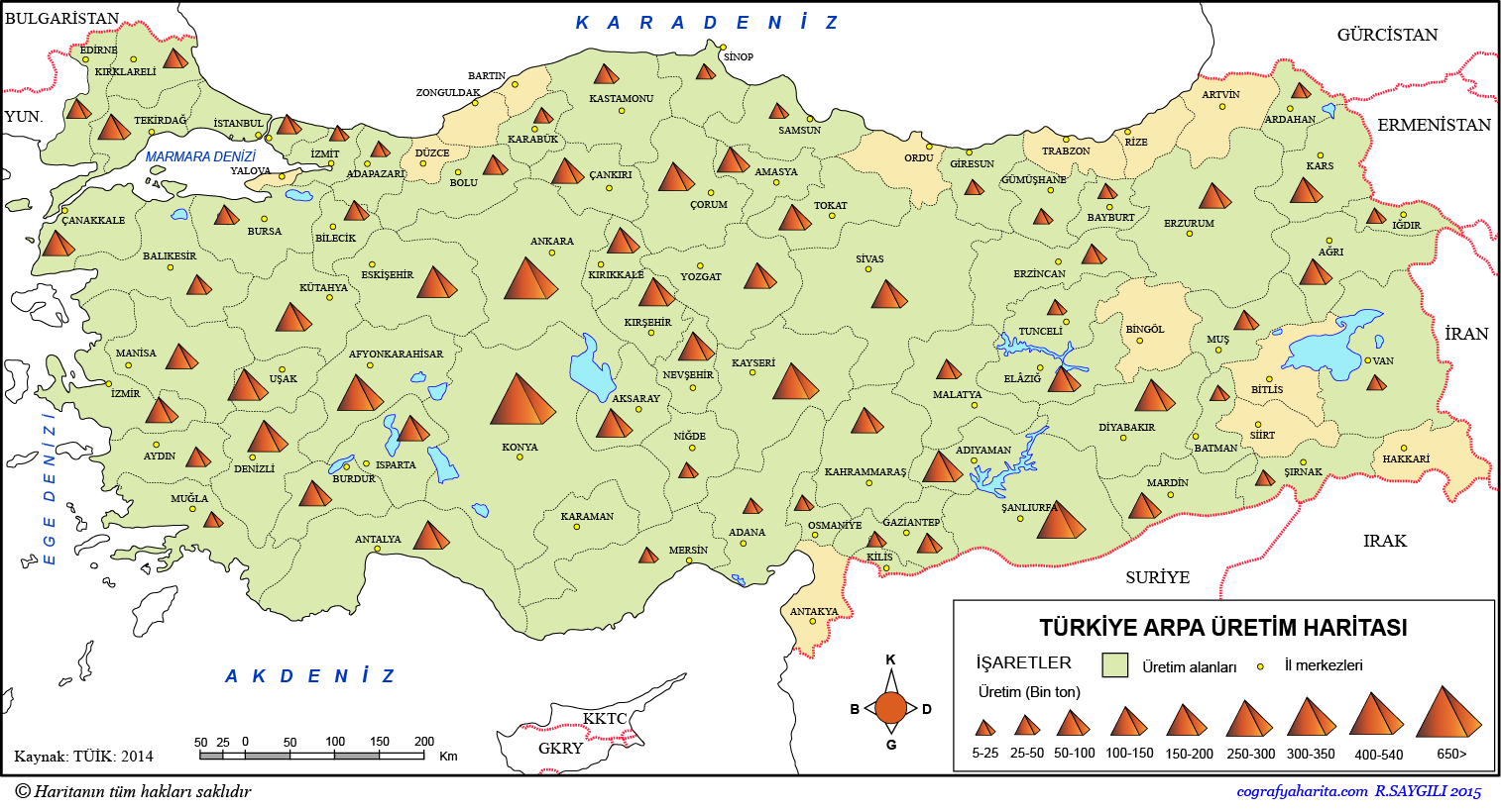Türkiye Arpa Üretim Haritası 3