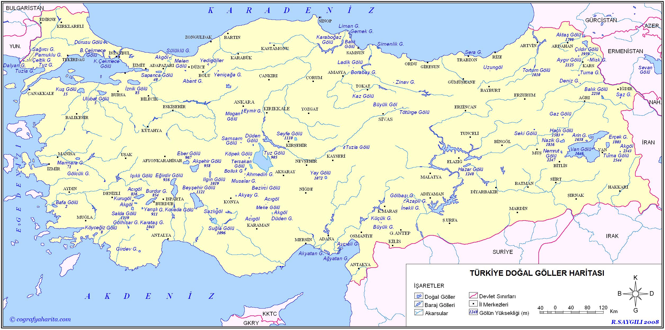 Türkiye Akarsular ve Göller Haritası 3