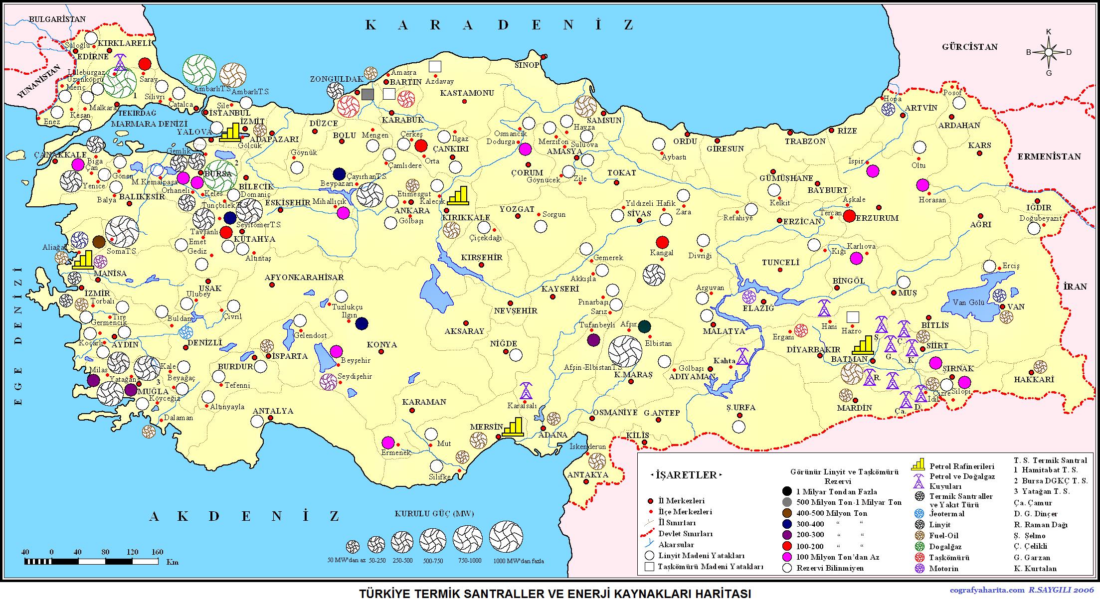 Türkiye Enerji Kaynakları ve Termik Santralleri Haritası