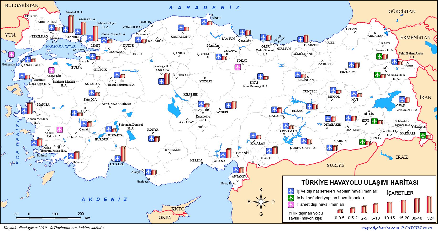 Türkiye Havalimanları Haritası 2