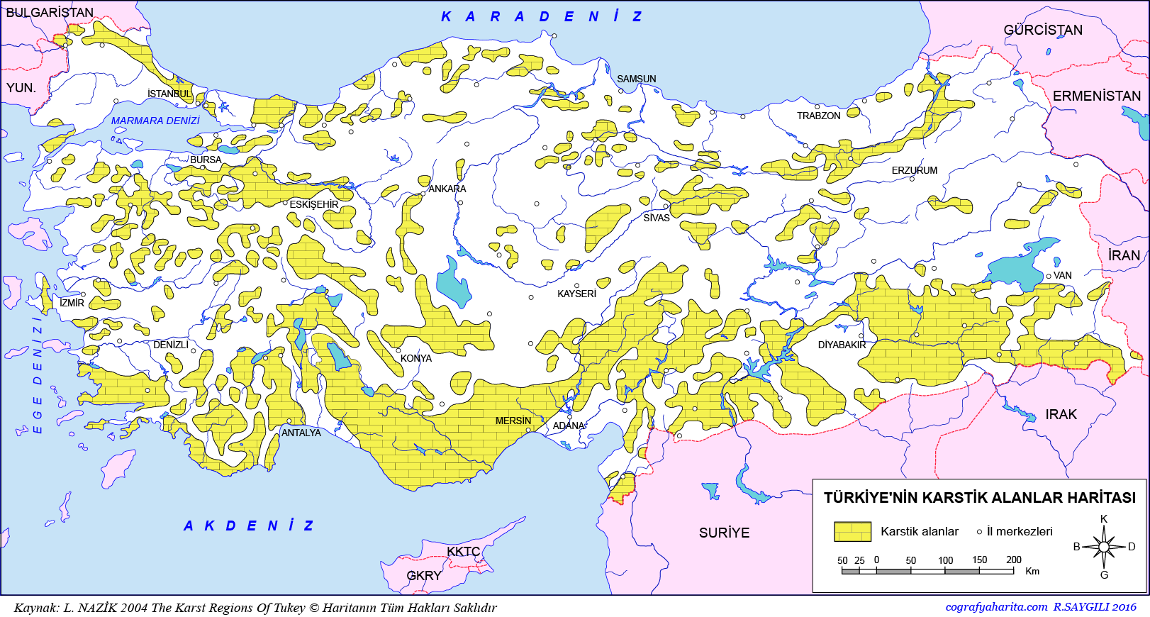 Türkiye Karstik Araziler Haritası