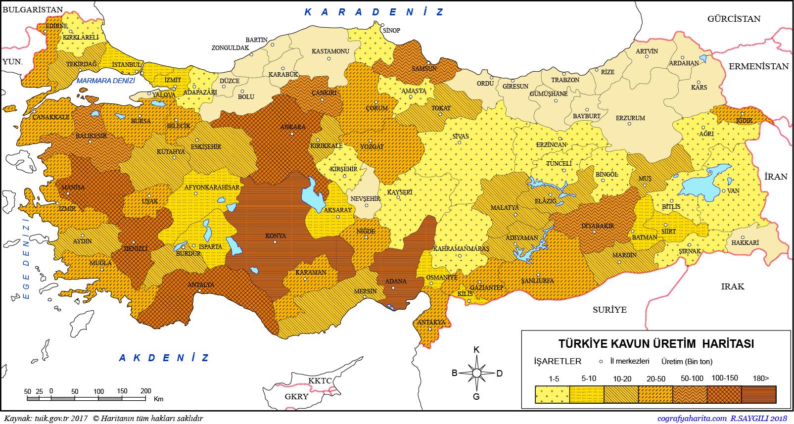 Türkiye Kavun Üretim Haritası