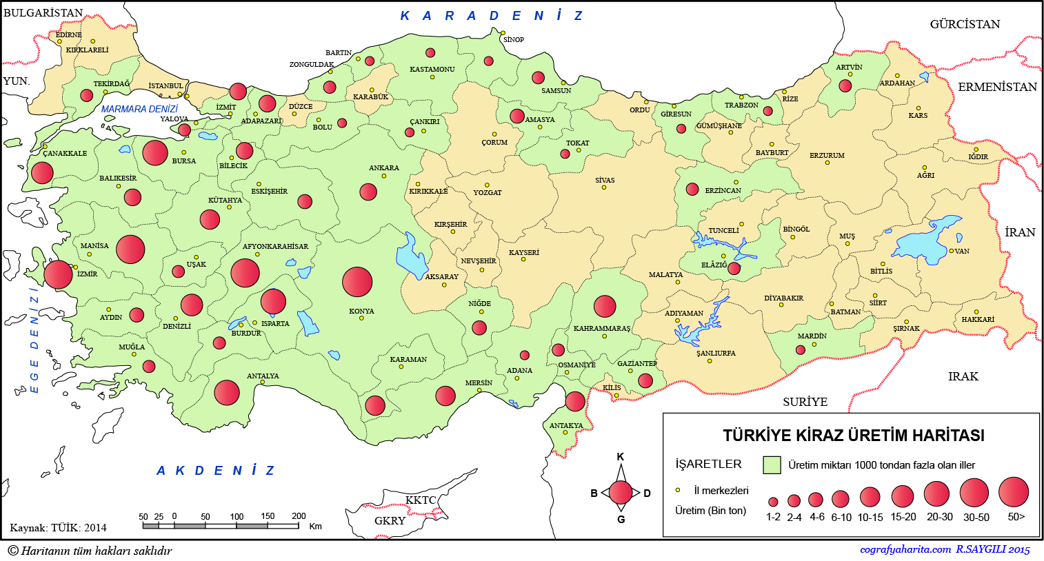 Türkiye Kiraz Üretim Haritası