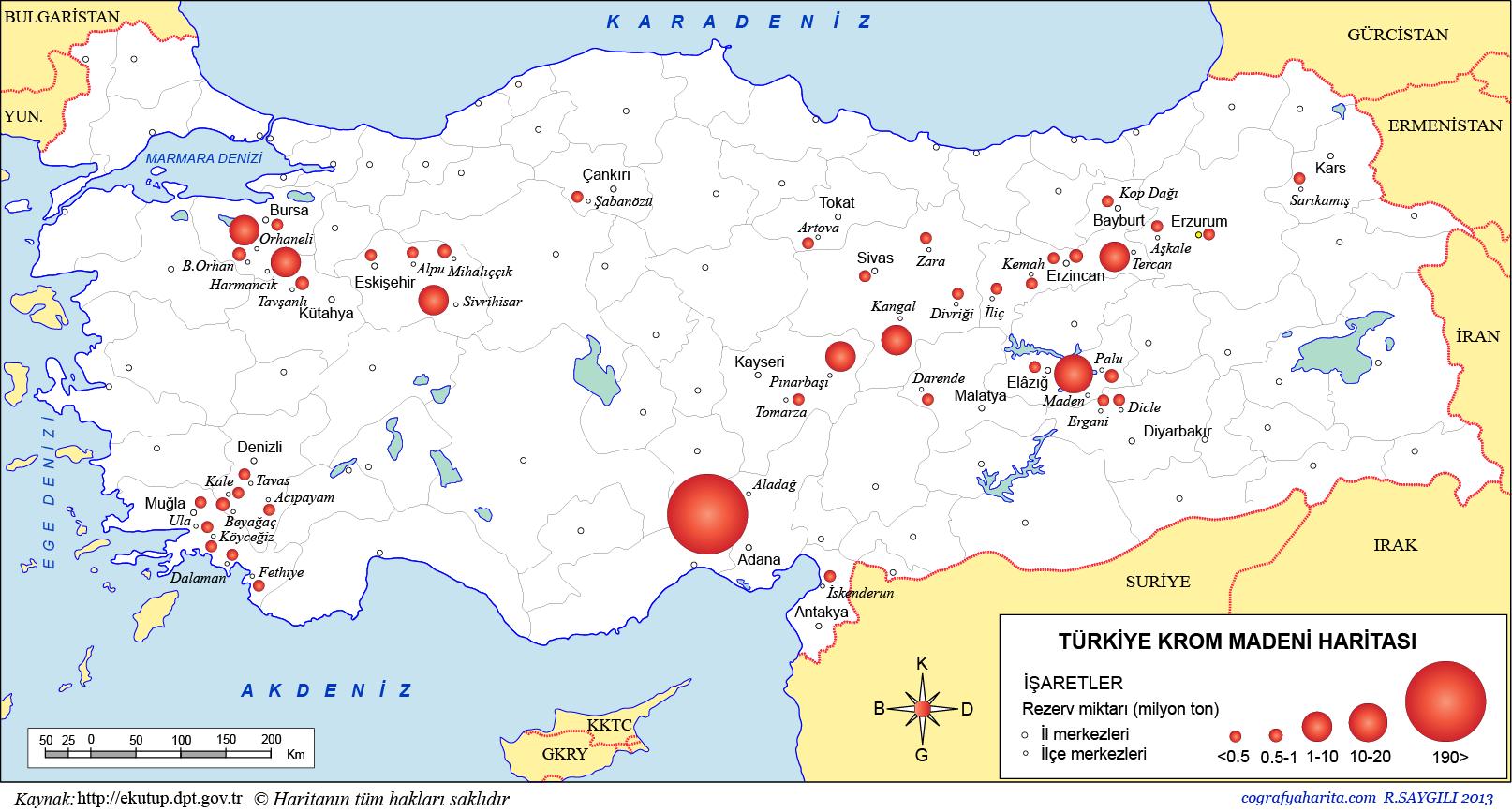 Türkiye Krom Madeni Haritası