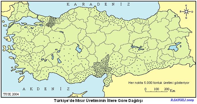 Türkiye Mısır Üretim Haritası 3