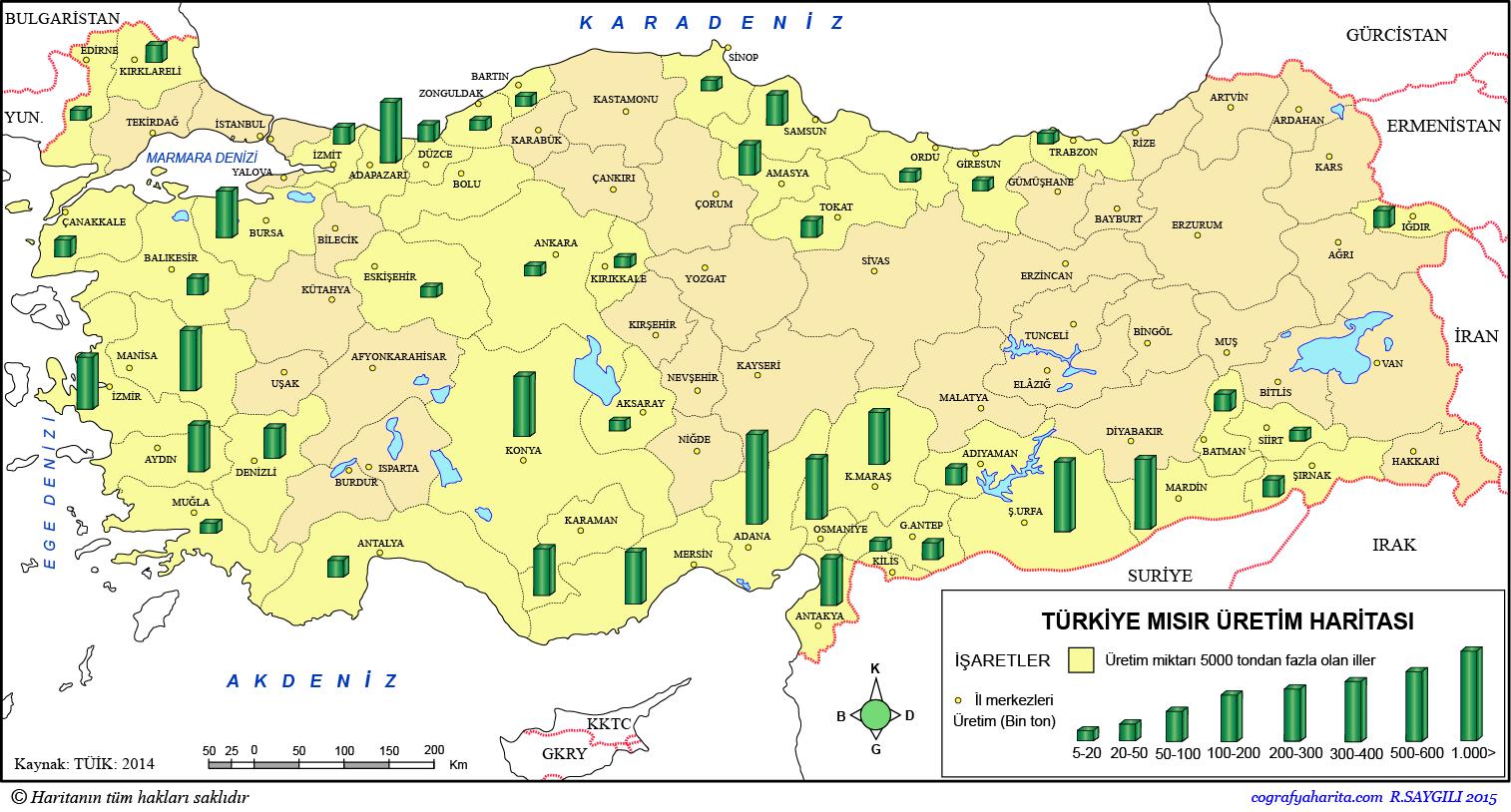 Türkiye Mısır Üretim Haritası 2