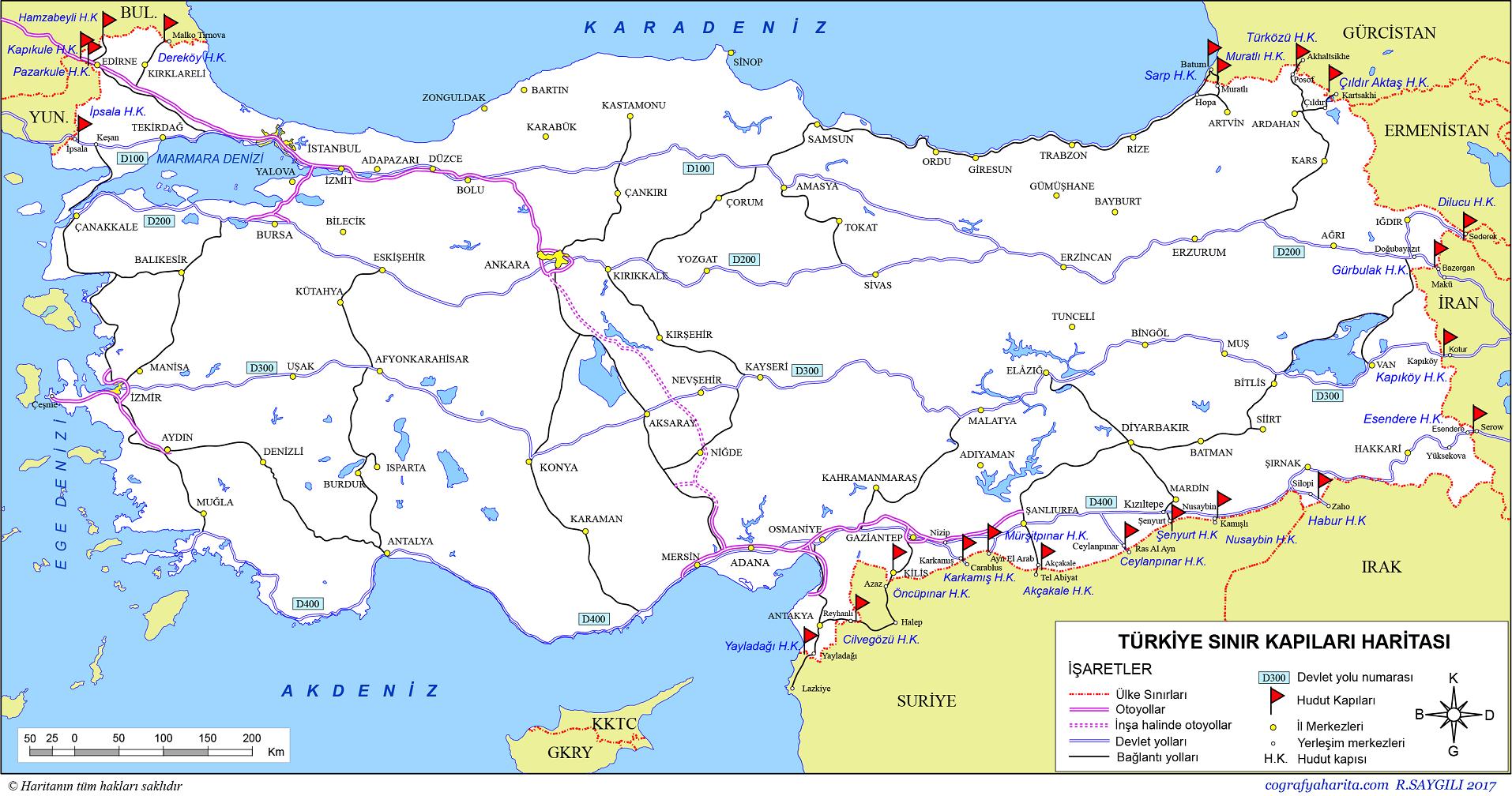 Türkiye'nin Sınır Kapıları Haritası