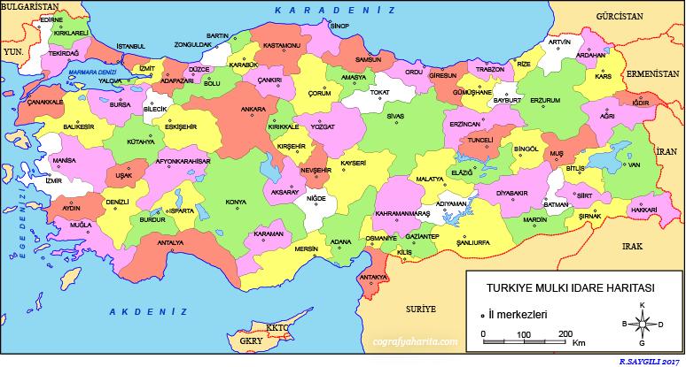 Türkiye Haritası (Siyasi)