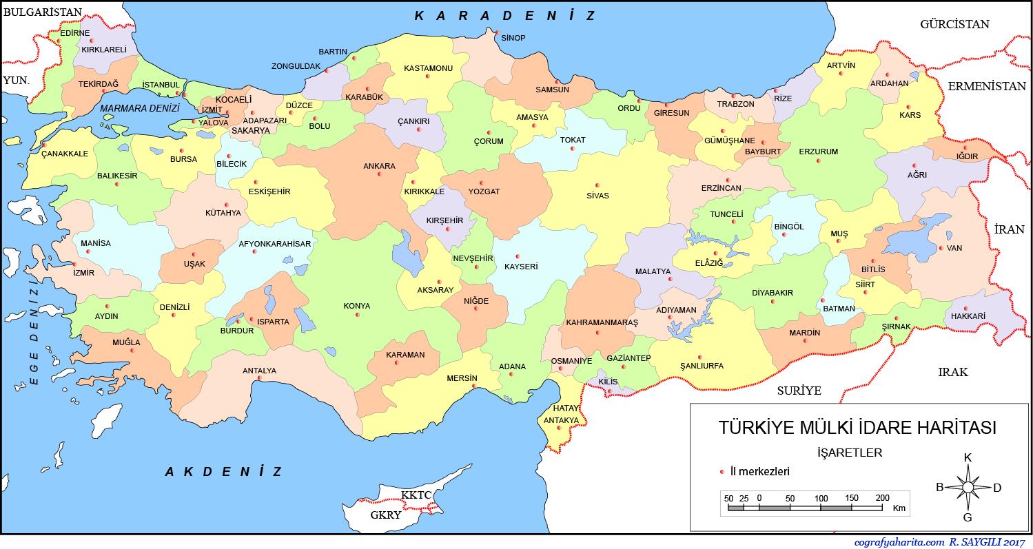 Türkiye Haritası (Siyasi) 3