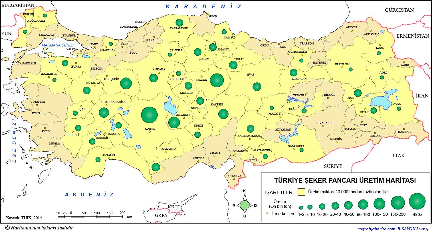 Türkiye Şeker Pancarı Üretim Haritası 2