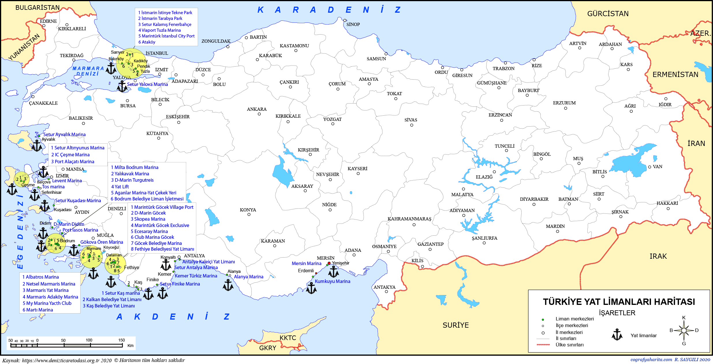 Türkiye Yat Limanları Haritası