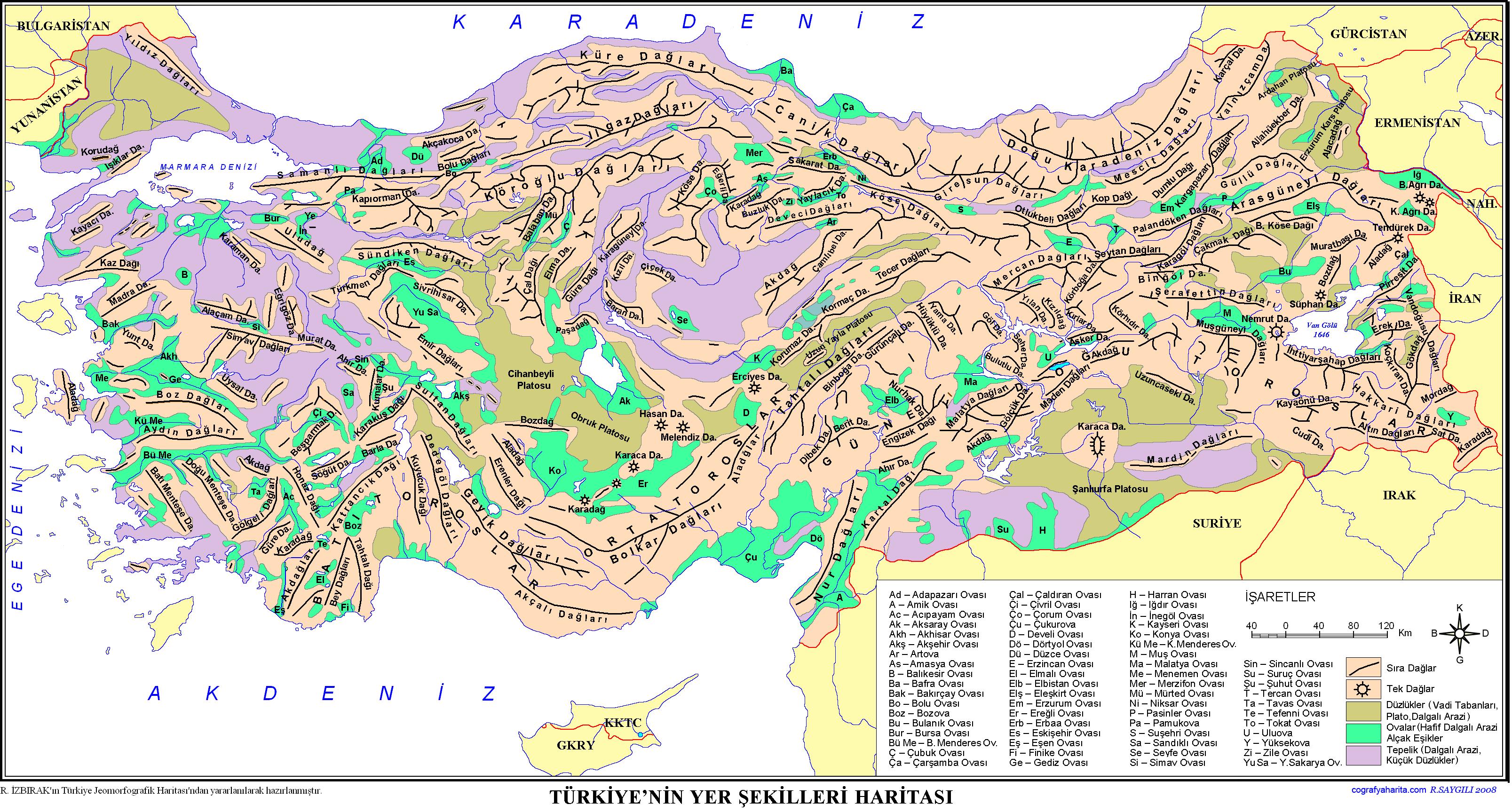 Türkiye Yer Şekilleri Haritası 2
