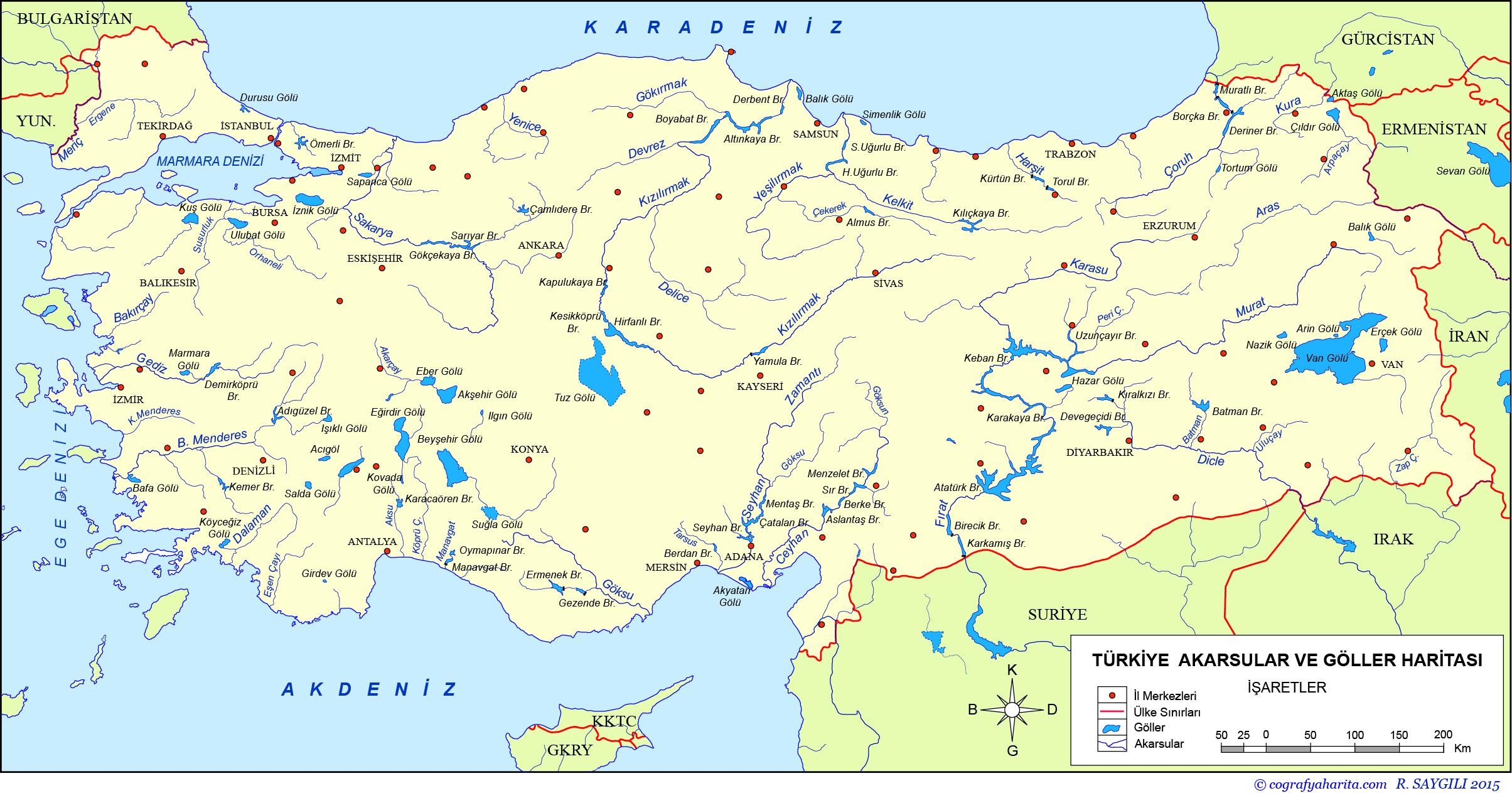 Türkiye Akarsular ve Göller Haritası