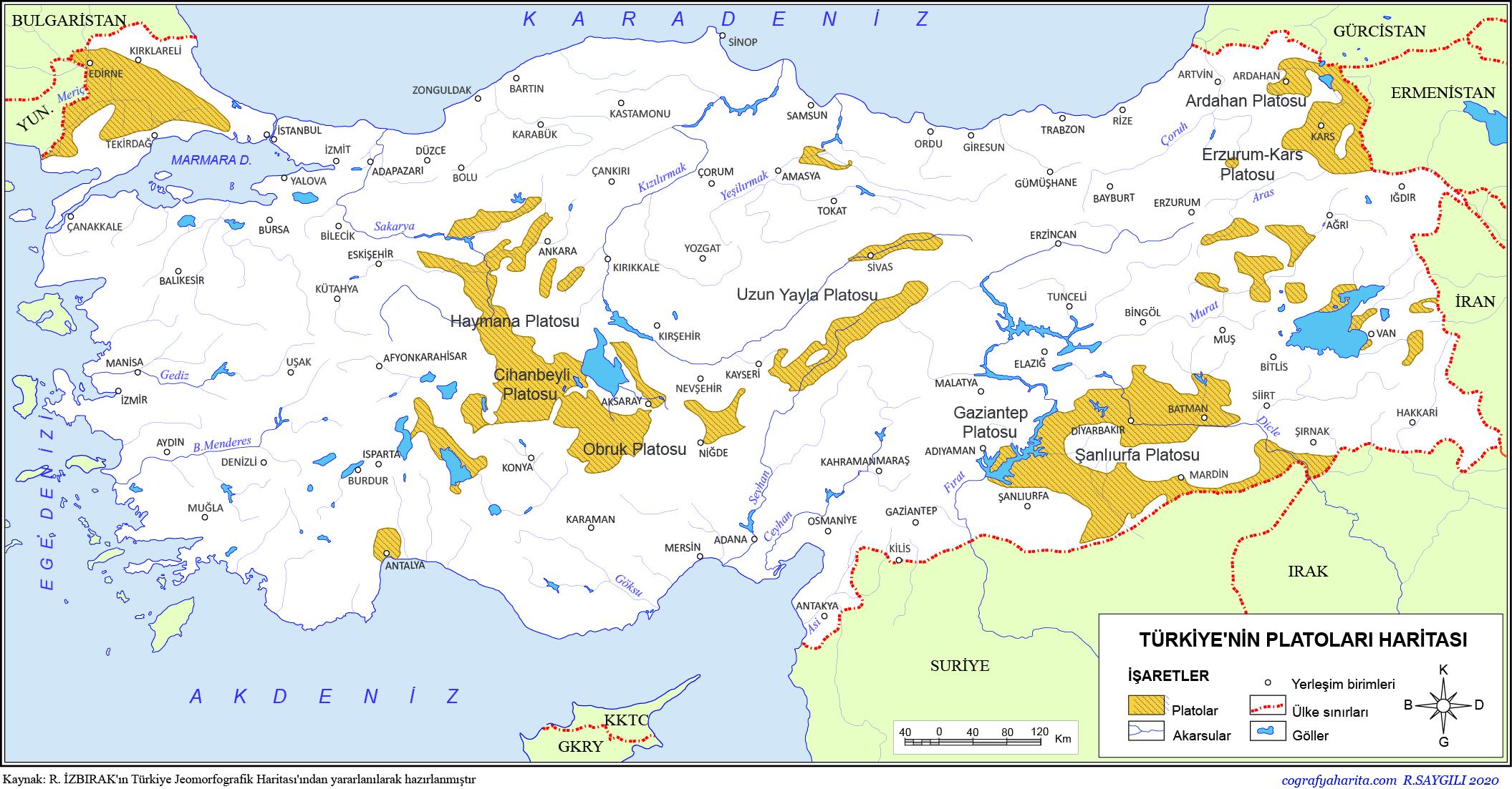 Türkiye'nin Plâtoları Haritası