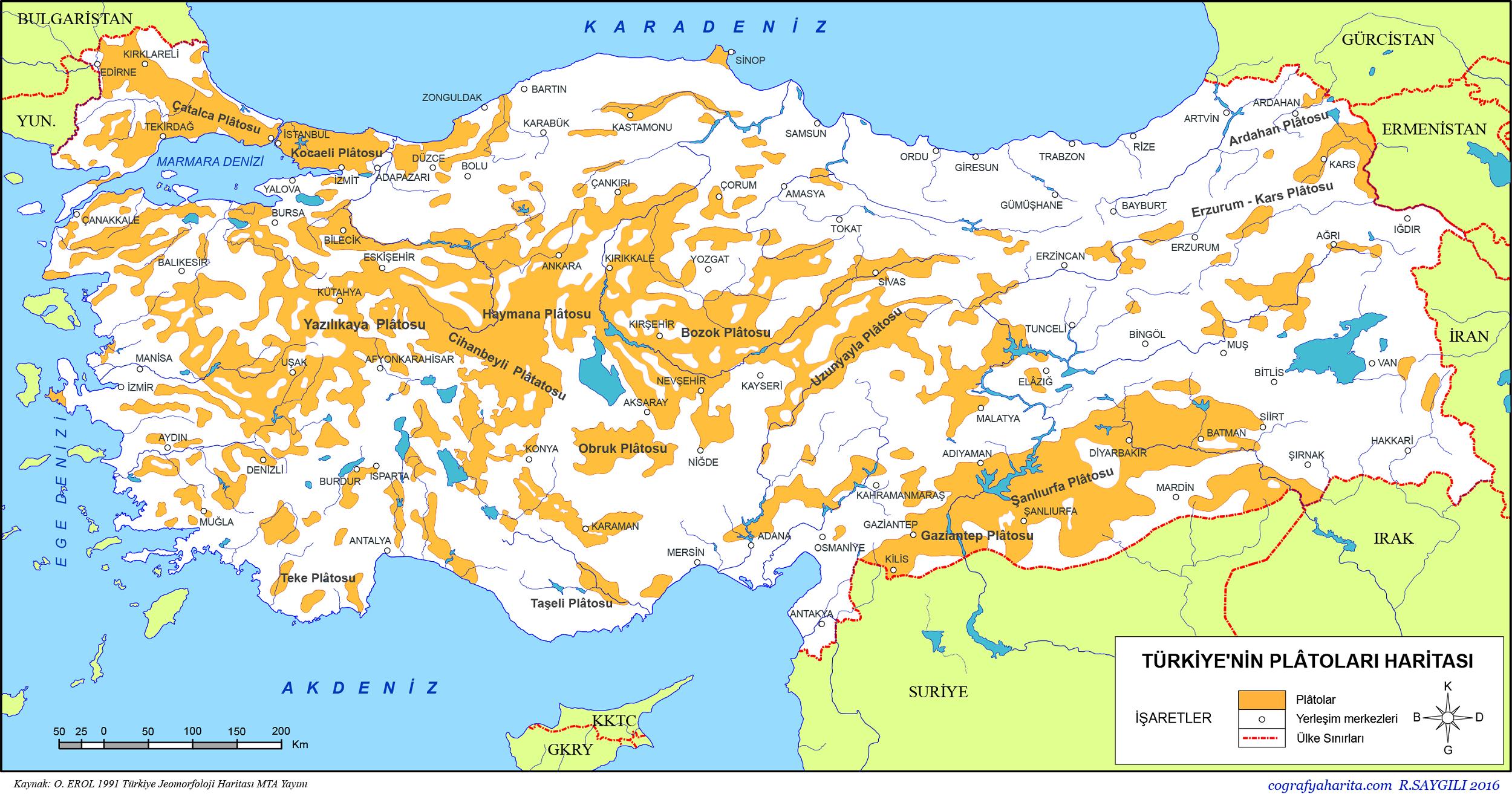 Türkiye'nin Plâtoları Haritası 2